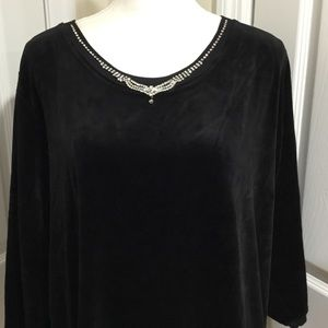 Quaker Factory Black Velour Top with Rhinestones